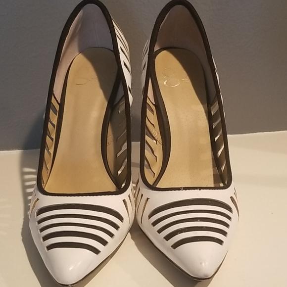 Stylish black and white heels